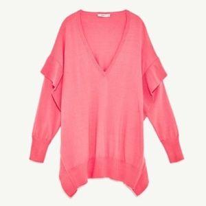 NEW Zara frill ruffle pink oversize v-neck sweater